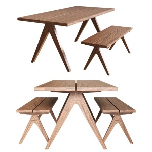 Split Top Dining Table And Bench