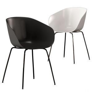 CB2 Poppy Black and White Plastic Chair