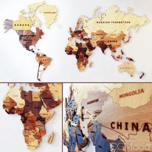World Map . Wooden