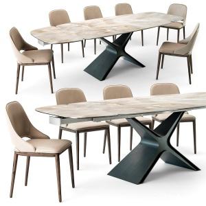 Tonin Casa Calliope Table Malva Chair Set