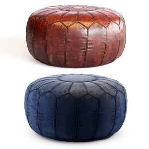 Vintage Round Moroccan Chocolate Brown Leather Pou