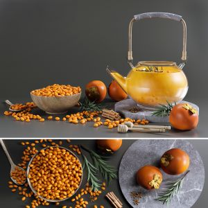 Tea Set With Sea Buckthorn And Persimmon