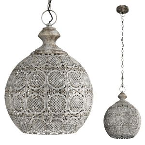 Domed Aged Metal Filigree Pendant Light