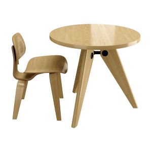 Vitra Dining Chair Wood & Gueridon Table