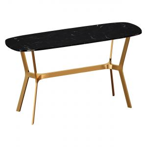 Elke Black Marble Console Table With Brass Base