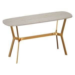 Elke Brown Marble Console Table With Brass Base