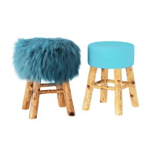 Solid Wood Stool With Wool Seat