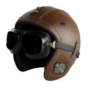 Leather Moto Helmet