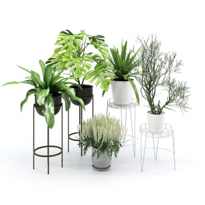 Scroll Small White Metal Plant Stand