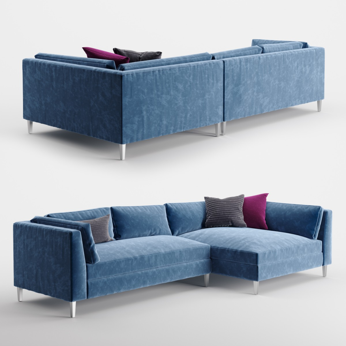 Terrific Cb2 Decker 2 Piece Blue Velvet Sectional Sofa 3D Model For Pabps2019 Chair Design Images Pabps2019Com