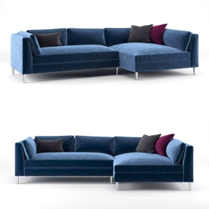 Cb2 Decker 2-piece Blue Velvet Sectional Sofa