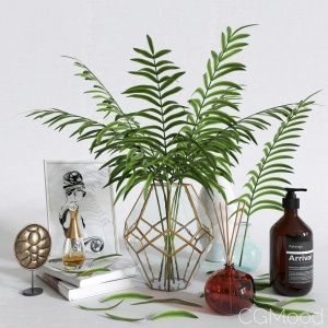 Decorative Set With Palm Tree In A Vase