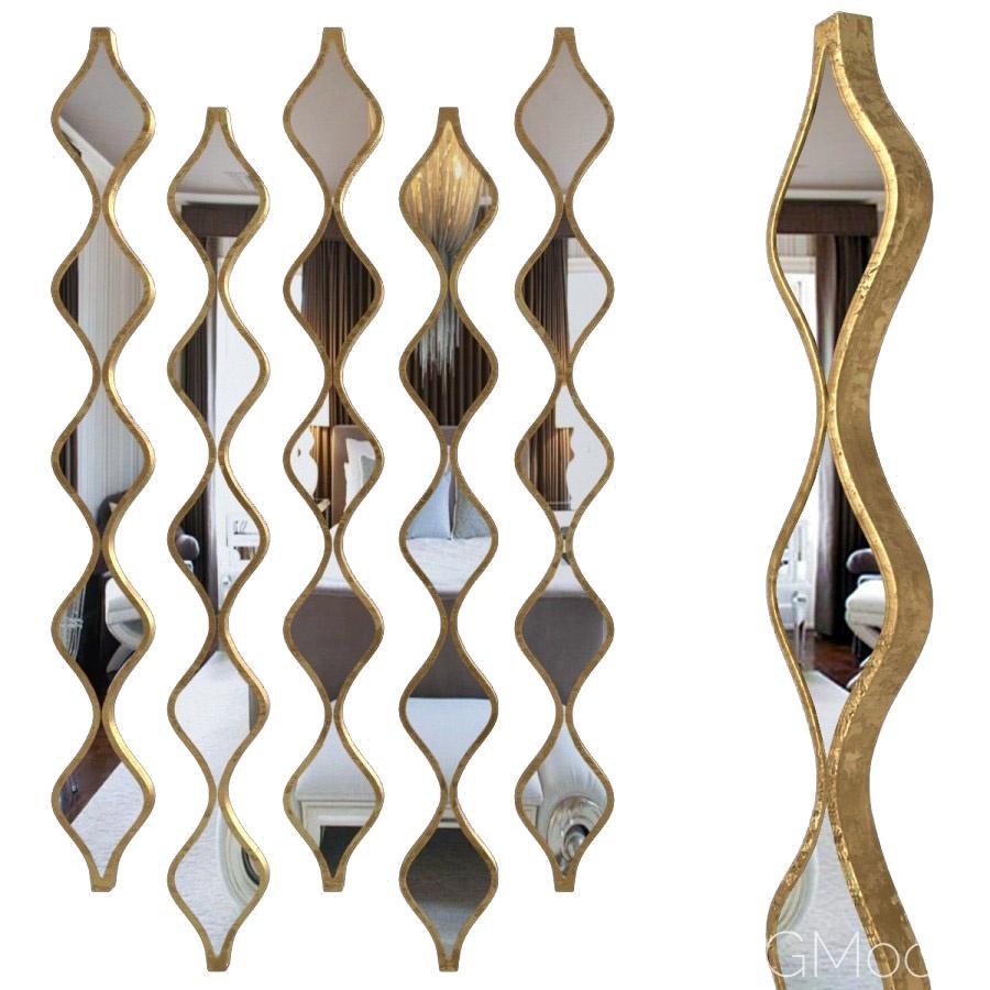 Single Gold Teardrop Panel Mirror - 3D Model for Corona