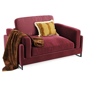 Rivet Revolve Modern Chenille Fabric - Red Armchai