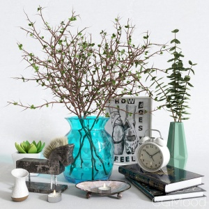 Decorative Set With A Dry Branch In A Vase