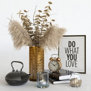 Decorative Set With Dry Plants. Dark Decor.