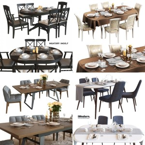 Set of dining tables with serving