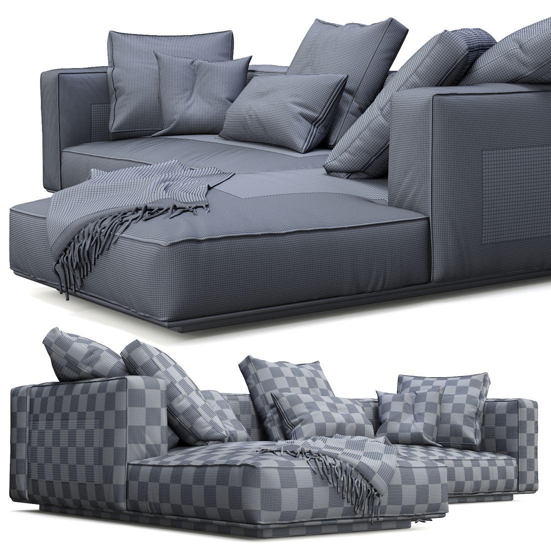 Flexform Sofa Grandemare - 3D Model for Corona