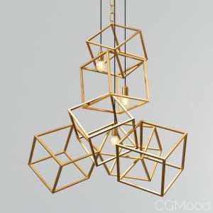 Rh Modern Cubes - Brass And Black