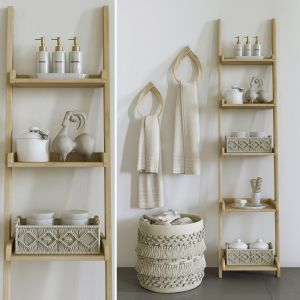 Decorative Set With Macrame Baskets