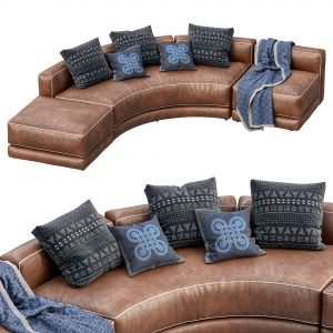 Lewis Leather Sofa Curved
