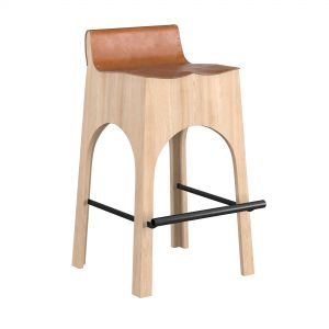 Jack Leather And Wood Stool - Tan