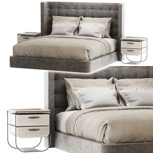 Modern Velour Gray Double Bed Gd25