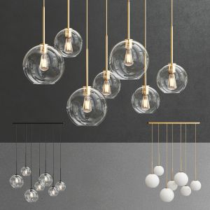 Sculptural Glass 7-light Globe Chandelier
