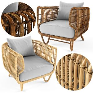 Bamboo rattan armchair for outdoor airy nature coo