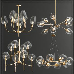 Collection Of Glass Bole Chandeliers New