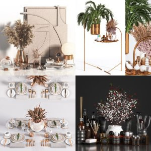 Six decorations include indoor plants and living room, kitchen and bathroom decor