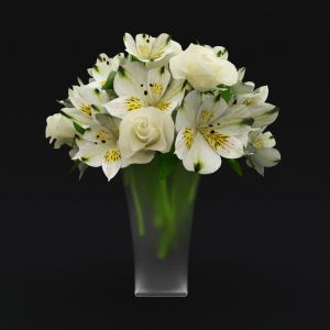 Bouquet Of White Roses And Alstroemeria