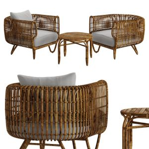 Table And Chair Bamboo Rattan For Outdoor Airy Nat