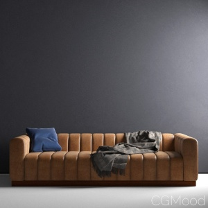 Forte channeled saddle sofa