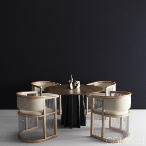 Shoreditch table + Kaishi chair dining set