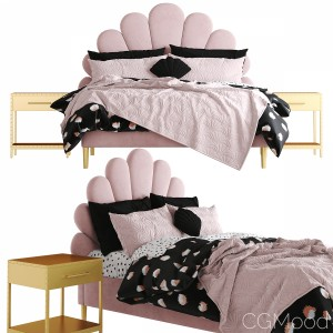 The Emily  Meritt Shell Upholstered Bed