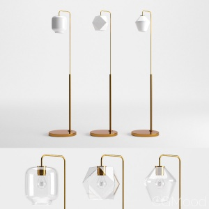 Sculptural Glass Faceted Floor Lamp