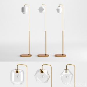 Sculptural Glass Faceted Floor Lamp