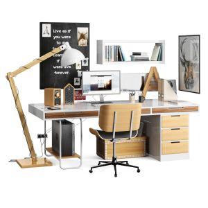 Workplace Scandinavian Ikea wooden