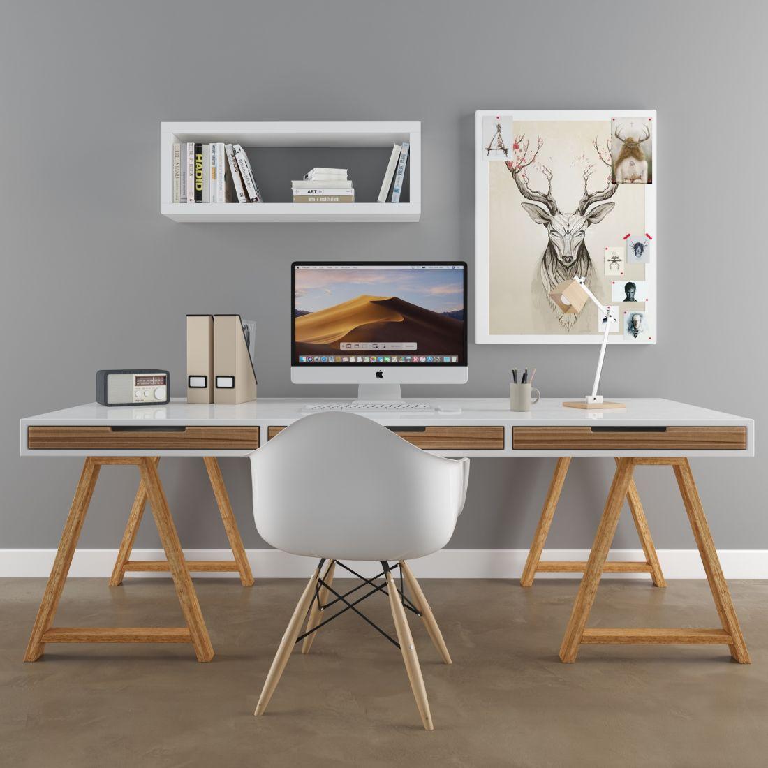 Image of: Desk Scandinavian Set Ikea 3d Model For Vray Corona