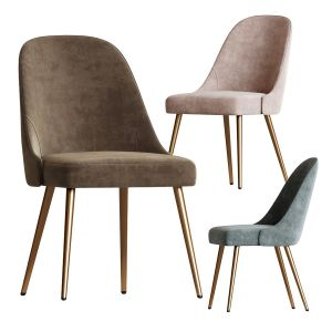 Mid-century Upholstered Dining Chair Metal Legs We