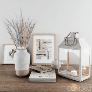 Decorative-set Blue Wheat & Lantern