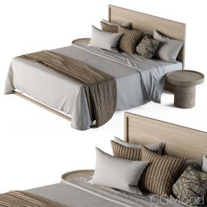 Wooden Bed Set White And Brown