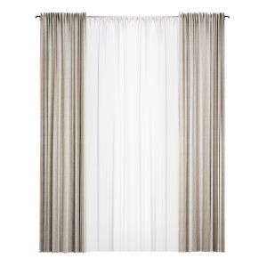 Straight Curtain With Tulle