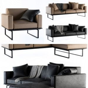 Cassina Sofa Set-Leather