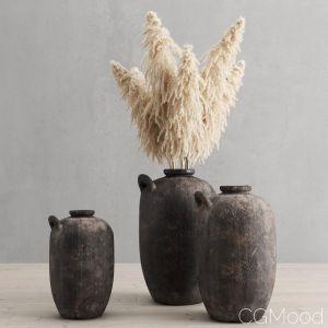 Pampas Grass In Clay Vases Restoration Hardware