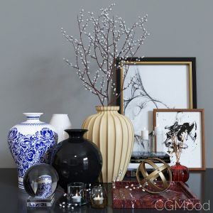 Decorative Set With Willow In A Vase