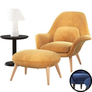 Fredericia Swoon Lounge Armchair & Ottoman