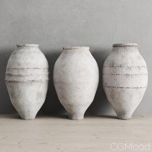 White Washed Antique Turkish Olive Jars