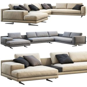Poliform Mondrian Chaise Lounge Sofa